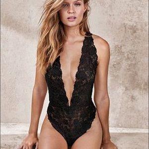 Victoria's Secret Lace Sexy Black Bodysuit